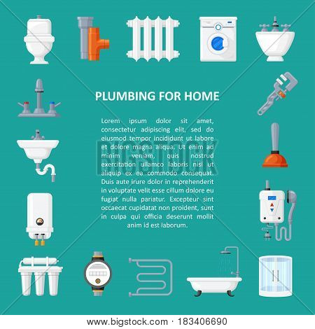 Plumbing for bathroom, toilet and kitchen vector banner in flat style. Plumbing service and repair background with space for text.