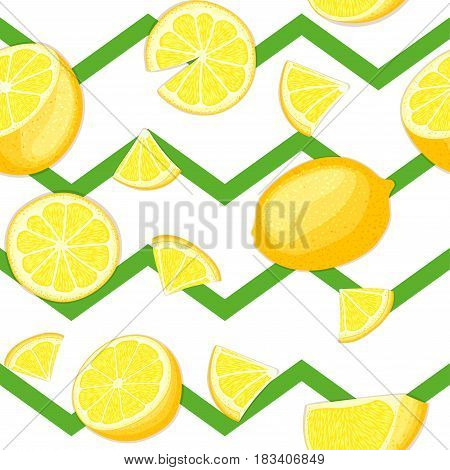 Ripe juicy tropical lemon striped seamless background. Vector card illustration. Fresh citrus yellow lime fruit on green zig zag lines. Seamless pattern for design healthy food diet juce, detox tea