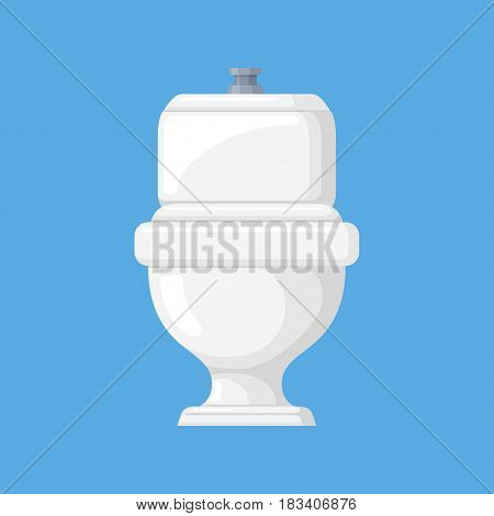 Toilet vector illustration in a flat style. Icon of a white, ceramic toilet on a blue background. Closed, home toilet bowl with a cistern.