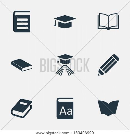 Vector Illustration Set Of Simple Reading Icons. Elements Reading, Notebook, Notebook And Other Synonyms Alphabet, Journal And Writing.