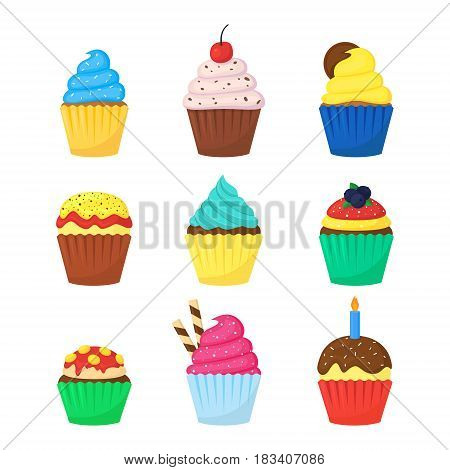 Cute delicious colorful muffins set with sweet toppings. Cupcakes isolated on white. Vector illustration.