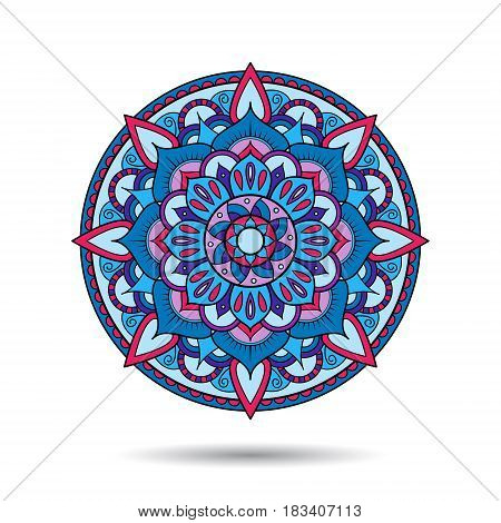 Mandala element. Symmetric zentangle. Colorful vector illustration. Abstract doodle background. Good for cards, invitations, presentations, party, bag, t-shirt, marketing materials. Indian east style.