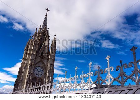 One of the towers of the Basilica of the National Vow in Quito Ecuador