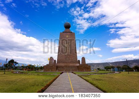Monument to the equator on the outskirts of Quito Ecuador