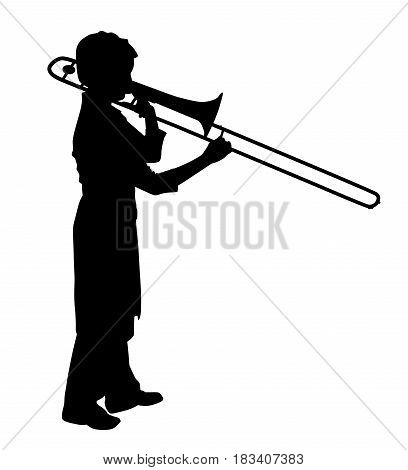 Female playing trombone. Isolated white background. EPS file available.