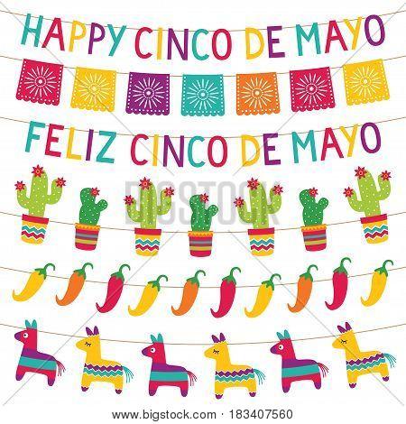 Cinco de Mayo party colorful bunting decoration set