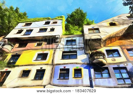 Colorful painting of apartment house at  Vienna, Austria