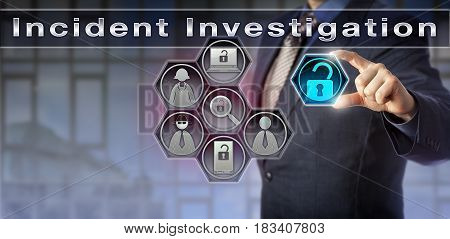 Blue chip security manager is activating an Incident Investigation process via a virtual control matrix. Cybersecurity concept and information technology metaphor for investigating a cyber attack.