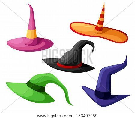 Hat Of The Sorcerer Conjurer Witch Hats Halloween With Straps And Buckles Set Halloween. Vector Illu