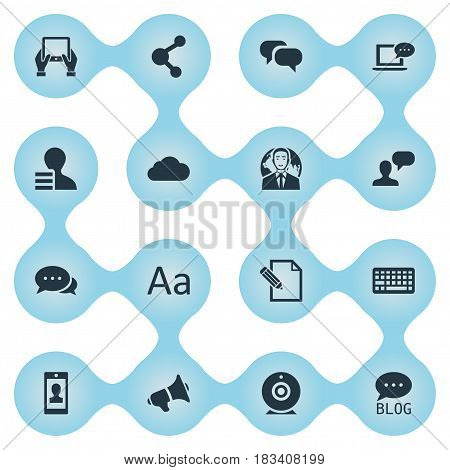 Vector Illustration Set Of Simple Blogging Icons. Elements Document, Gossip, Argument And Other Synonyms Megaphone, Discussion And Cloud.
