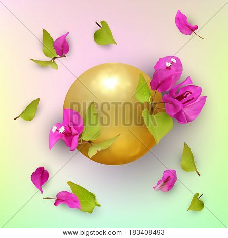 3D. Golden ball with tropical flowers, buds, leaves and petals. Bougainvillea. Abstract summer background. Symbol of prosperity and welfare. Concept. Vector illustration