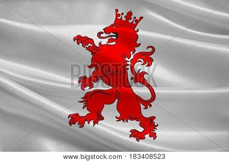 Flag of Selestat is a commune in the north-east region of France. 3d illustration
