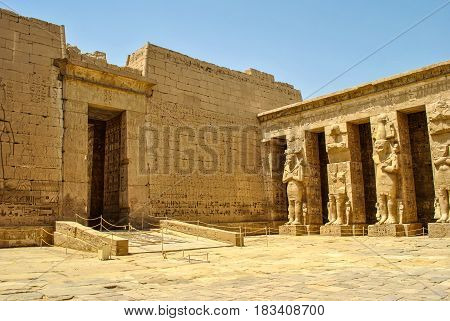 Historic ruins of the anscient temple of Karnak in Luxor, Egypt