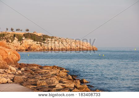Coast of the Mediterranean Sea in the city of Salou, Ispania