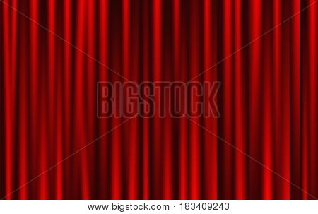 theatrical background. Red drape curtains. Cinema, theater, opera house. Vector linear seamless pattern