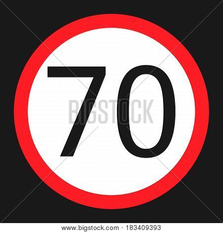 Maximum speed limit 70 flat icon, Traffic and road sign, vector graphics, a solid pattern on a black background, eps 10.