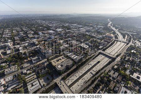 Aerial view of downtown Pasadena near Los Angeles, California.