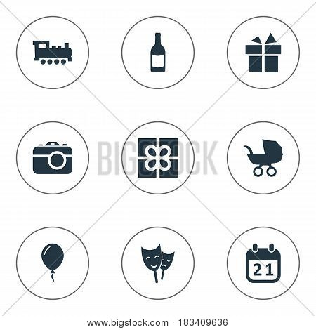 Vector Illustration Set Of Simple Celebration Icons. Elements Train, Special Day, Baby Carriage And Other Synonyms Train, Day And Fizz.