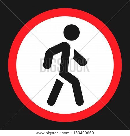 No Pedestrians flat icon, Traffic and road sign, vector graphics, a solid pattern on a black background, eps 10.