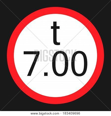 Weight limitation 7 tons flat icon, Traffic and road sign, vector graphics, a solid pattern on a black background, eps 10.