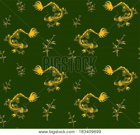 Oriental seamless pattern with golden dragons and bamboo on green background.