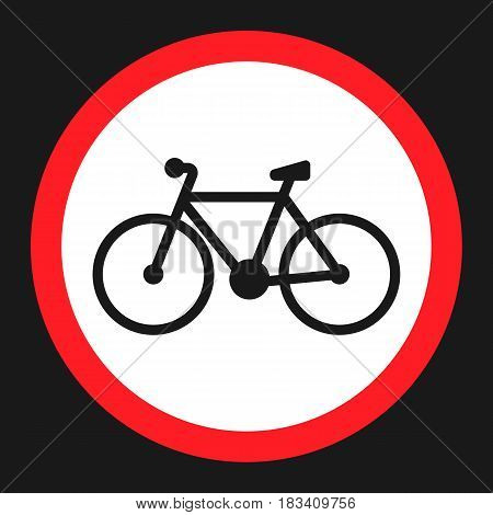 No bicycle, bike prohibited flat icon, Traffic and road sign, vector graphics, a solid pattern on a black background, eps 10.