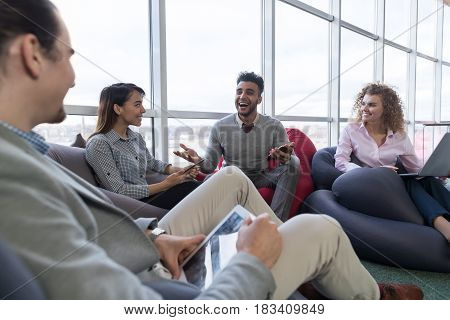 Businesspeople Group In Coworking Center, Coworkers Workplace Mix Race People Meeting Modern Office Cafe Panoramic Window