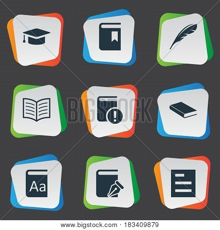 Vector Illustration Set Of Simple Education Icons. Elements Plume, Book Cover, Sketchbook And Other Synonyms Important, Plume And List.