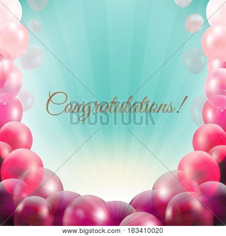 Congratulations Card With Pink Balloons Frame
