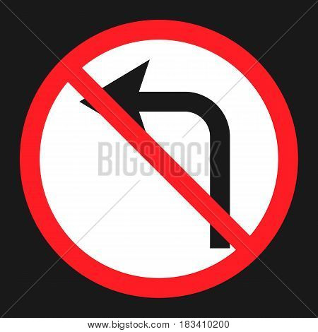 No left prohibition turn sign flat icon, Traffic and road sign, vector graphics, a solid pattern on a black background, eps 10.