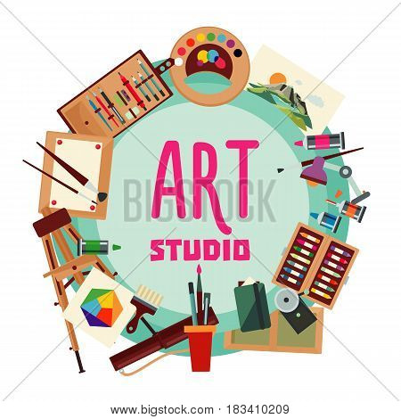 Painting elements round concept with paintbrushes pencils easel lamp pictures colorful palette pen markers boxes canvas isolated vector illustration