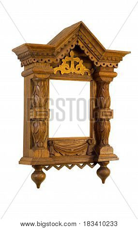 Wooden orthodox Christian church picture frame. Isolated over white
