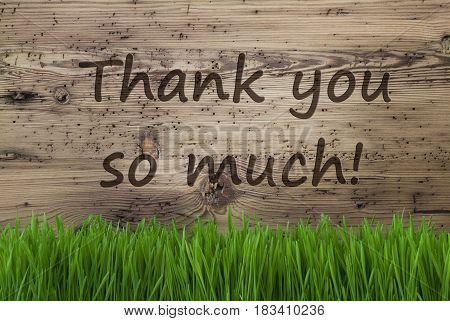 English Text Thank You So Much. Spring Season Greeting Card. Aged Wooden Background With Gras.