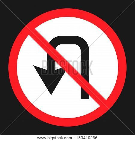 No u-turn prohibition sign flat icon, Traffic and road sign, vector graphics, a solid pattern on a black background, eps 10.
