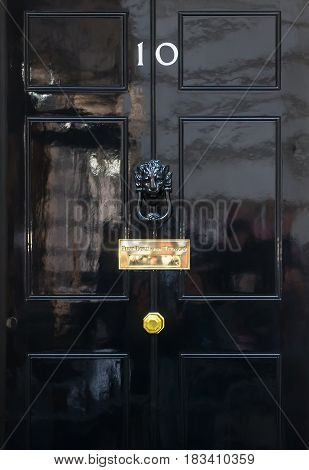 Entrance Door Of 10 Downing Street In London