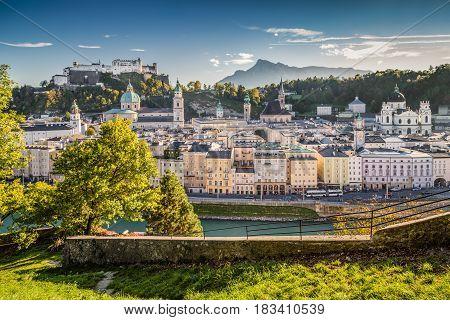 Historic City Of Salzburg At Sunset, Salzburger Land, Austria