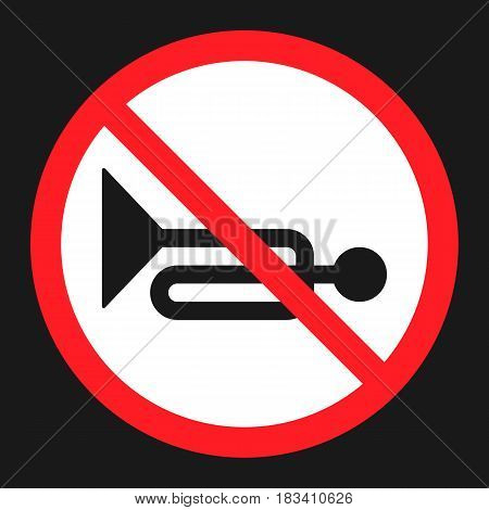 No horn prohibited sign flat icon, Traffic and road sign, vector graphics, a solid pattern on a black background, eps 10.