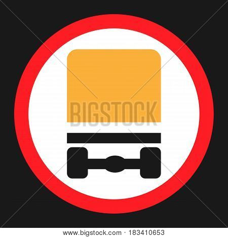 Dangerous Goods Transport prohibition sign flat icon, Traffic and road sign, vector graphics, a solid pattern on a black background, eps 10.