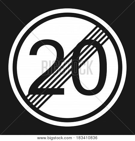 End maximum speed limit 20 sign flat icon, Traffic and road sign, vector graphics, a solid pattern on a black background, eps 10