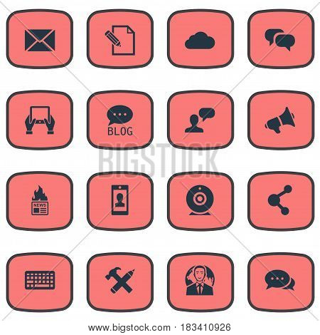 Vector Illustration Set Of Simple Blogging Icons. Elements Gazette, Loudspeaker, Broadcast And Other Synonyms Camera, Post And Share.