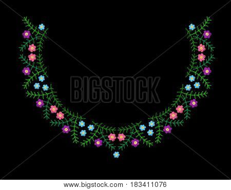 Colorful flower with leaf frame embroidery stitches imitation. Floral wreath for neck line on black background. Embroidery vector.