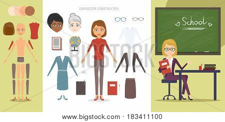 Teacher character constructor set. Cartoon vector flat style infographic illustration. A woman working as a pedagogue of different age and race, variations clothes and items needed in the profession