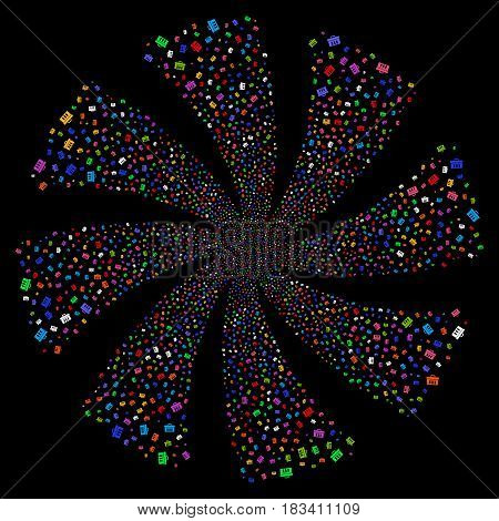 Analysis fireworks swirl rotation. Vector illustration style is flat bright multicolored iconic symbols on a black background. Object whirl combined from random symbols.