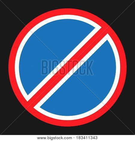 Clearway and no parking sign flat icon, Traffic and road sign, vector graphics, a solid pattern on a black background, eps 10