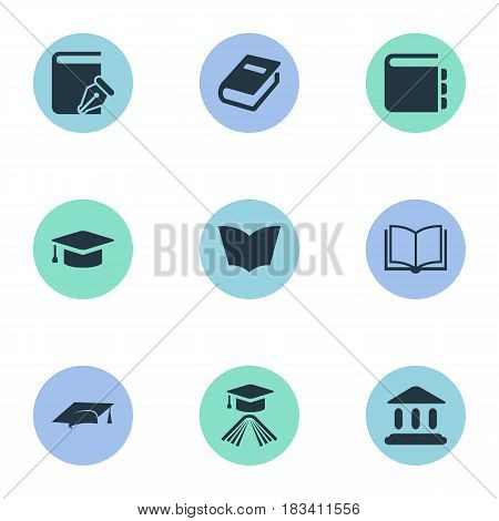 Vector Illustration Set Of Simple Knowledge Icons. Elements Academic Cap, Journal, Graduation Hat And Other Synonyms Sketchbook, Reading And Page.