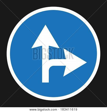 Compulsory ahead or right sign flat icon, Traffic and road sign, vector graphics, a solid pattern on a black background, eps 10