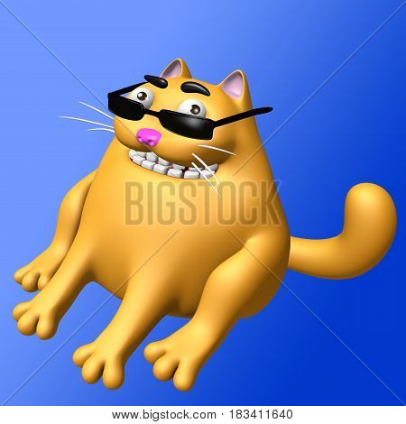Cute orange fat cat in black glasses. 3D illustration. Funny cartoon character.