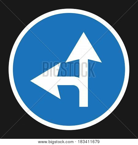 Compulsory ahead or left sign flat icon, Traffic and road sign, vector graphics, a solid pattern on a black background, eps 10