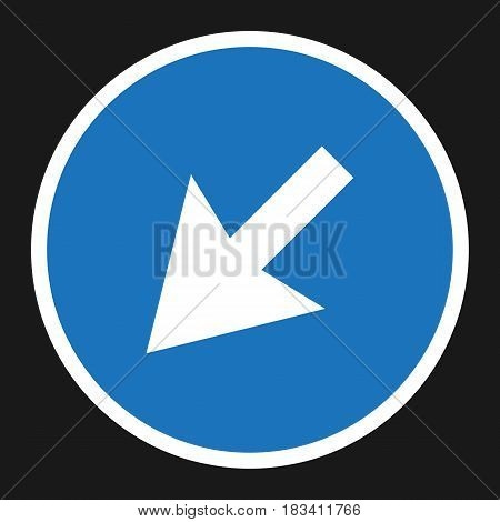detour to the left sign right icon, Traffic and road sign, vector graphics, a solid pattern on a black background, eps 10