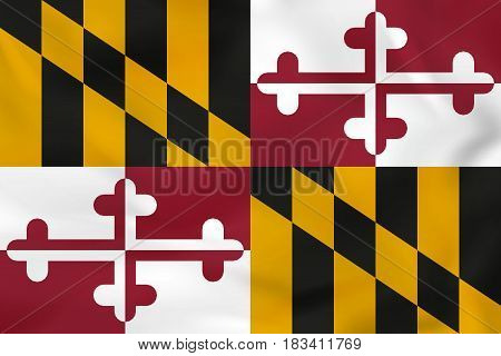 Maryland Waving Flag. Maryland State Flag Background Texture.